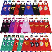 Wholesale Kids Super Hero Capes - 70*70CM double-layer Superhero Cape and mask set Superhero costume Halloween satin cape felt mask for Kids 2pcs set