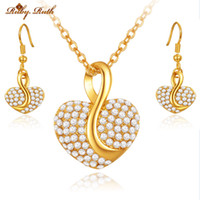 Wholesale Alloy Bridal Jewellery Set - Ruby.Ruth jewelry sets african bridal 18k gold platinum heart necklace earrings jewellery sieraden wedding women crystal taki fashion set