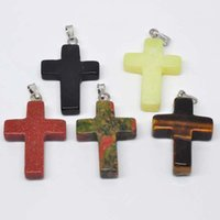 Wholesale Natural Stones For Pendant Making - Wholesale 5pcs Lot Fashion Cross Heart Natural Stone Pendants Charms For Women Jewelry Fit For Making DIY Necklaces Free Shipping