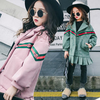 Wholesale 13 Years Kids Clothes - Girl jacket coat brand children's clothing 2017 new Korean lapel for 6 7 8 9 10 11 12 13 14 years kid tide winter long outerwear