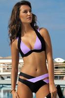 Wholesale Mixed Bikini Set - 2016 Fashion Women Swimwears Swimsuit Fit Slim Casual Mixed Color Cross Bathing Suit Halter Padded Sexy Brazilian Bikini Set