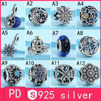 Wholesale Snowflakes Beads - S925 Sterling Silver Pan-do-ra Bracelet Bead Blue Snowflake Retro Night Pendant Pumpkin Car Star Glass Glass Beaded