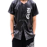 Wholesale Tshirt Leather Sleeves Men - DOPECHEF Hip Hop PU Leather Men's T-shirts Harajuku Palace Baseball Jersey Tshirt Men Yeezus Black Funny T Shirts Homme