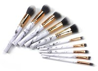 Wholesale Concealer For Lips - 10pcs set Makeup Powder Cosmetics BB Cream Blush Eyebrow Lip Concealer Eyeshadow Brushes For Professionals Marble Handle Make Up Set Tools