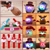 Wholesale Asian Wholesale Led - LED Slap & Snap Bracelets Christmas Decorations For Children Gift Toys Flashing Patting Circle Santa Claus Snowman Deer Christmas