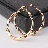 Wholesale Bling Earrings Hoops - 2014 Luxury Fashion Europe Womens Earrings 18k Gold Filled Promise Wedding Bling Cool Hoop Earring Free Shipping E420b