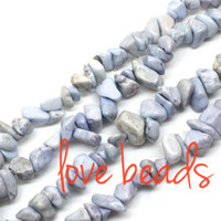 Wholesale Turquoise Stone Chip Beads - Irregular Gravel Light Blue Natural Turquoise 5-8mm Chips Loose Beads Freeform Strand 80CM For wholesale (F00361) wholesale