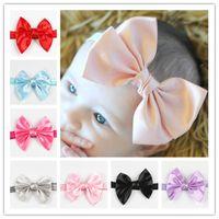 Wholesale Big Satin Ribbon Bows - Baby Girls Big Grosgrain Ribbon Bow Headbands Top-Quality Elastic Satin Bows Hairbands Kids Princess Headwear Hair Accessories KHA373