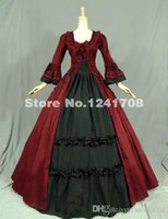 Wholesale Red Theatre - Gothic Renaissance Victorian Dress Gown Reenactment Costume Civil War Ball Gown Period Dress Prom Reenactment Theatre Clothing