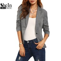 Wholesale Women Jackets For Work - SheIn Womens Work Wear Blazers For Autumn Fashion Ladies Fitted Plain Grey Lapel Long Sleeve Single Button Jacket Outwear Blazer