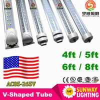 Wholesale Dlc Led Tube - V-Shaped FA8 R17D 6ft Cooler Door Led Tubes T8 Integrated Led Tubes Double Sides SMD2835 Led Fluorescent Lights AC 85-265V UL DLC
