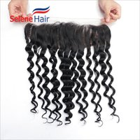 Wholesale Peruvian Frontal - Unprocessed 13*4 Inch Virgin Peruvian Deep Wave Lace Frontal Hair Bundles 8A Grade Can Be Dyed Guaranteed Quality Fast Delivery