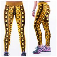 Wholesale Metal Tights - Exercise Yoga Pants High Waist Fitness Leggings Women Tight Fashion Long Trousers Digital Printing Golden Gold Metal Elastic Capris LNASlgs