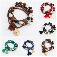 Wholesale Elastic Line For Bracelet - Charms Bracelets for Women 2016 Fashion Bohemian Four Leaf Clover Multilayer Charm Elastic Bracelet Force Line Resin Beaded Bracelet