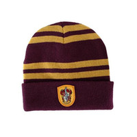 Harry Potter Beanie Gryffindor Slytherin Cappellini Caps Hufflepuff Cappottini Cosplay Ravenclaw Cappellini Striped School Cappelli invernali Fashion
