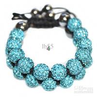 Wholesale Cheap Light Strands - new cheap! Hot! 10mm Light Blue Rhinestone Crystal ball bead Shamballa bracelet.shamballa Disco wholesale . HOT hotsale DIY
