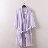 Wholesale Long Shirts For Women Simple - Wholesale-Hot sale Summer Waffle cotton fabrics seven colors simple casual women robes Long sleeve bathrobe for hotel beauty salon robes