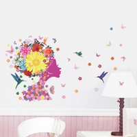 Wholesale Decals Girl Bird - Angel Girl Butterfly Flowers Birds Art Decal Wall Stickers For Girls Room Home Decor DIY Mural Kids Rooms Wall Decoration