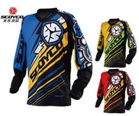 Wholesale Nylon Spandex T Shirt - 2016 New style SCOYCO Motorcycles Competitive XC T-Shirt Professional racing suits Wicking breathable Jersey T200 Red Blue Green 3 color