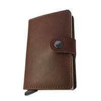 Wholesale Fashionable Credit Card Holders - Fashionable Men Designer Genuine Cow Leather Wallets with Aluminum Credit Card Holder
