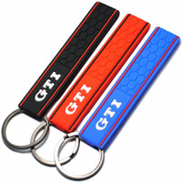 Wholesale vw gti - Cool Silicone GTI Logo Emblem Badge Car Keychain Key Ring for VW Golf MK2 MK3 MK4 MK5 MK6 MK7 Polo Car Styling Auto