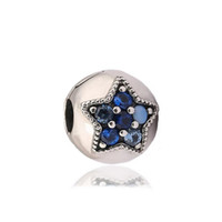 Wholesale bright charms - Authentic 925 Silver Beads Bright Star Clip Charms Fits European Style Jewelry Bracelets