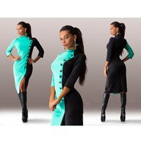 Wholesale Lady Hit Dress - New products 2015 Autumn Women Midi Dress Buttons Hit Color Sleeve Leisure Slim Lady Bodycon Pencil Dress New2016