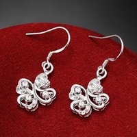 Wholesale Dangle Chandelier Sterling Silver - High grade flower fashion 925 earrings STPE016B,Best gift full gemstone women's sterling silver Dangle Chandelier earrings