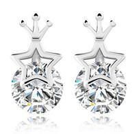 Wholesale Star Stud Earrings Silver Crystal - Princess Girl Stud Earrings Austrian Crystal Crown Ear Jewerly Lucky Star With Round Rhinestone 30% 925 Sterling Silver Stud Earrings