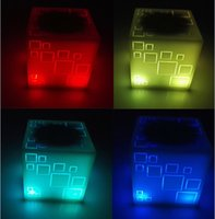 Wholesale Tablet Subwoofer - Ultra Portable Colorful LED Flash Wireless Bluetooth Speaker Better Bass Sound Volume Cube Square Subwoofer Handsfree for iPhone Tablet PC