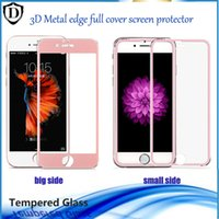 Wholesale Film Fronted Bags - For Iphone 6 6s plus Tempered Glass Screen Protector 3D Metal Edge 0.26MM Protective film with opp bag