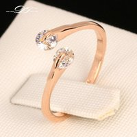 Wholesale Gold Double Rings - Vintage Double Cubic Zirconia Rock Finger Rings 18K Gold Plated Fashion Brand CZ Diamond Jewellery Jewelry For Women DFR007