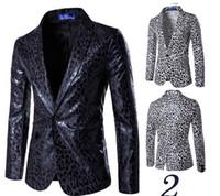 Wholesale leopard man suit jacket - Mans Casual British Blazer Single Button Male Suit Blazer Leopard Print Blazer For Men Luxury Slim Fit Jacket T170804