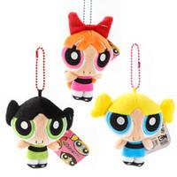 "Wholesale Powerpuff Girls Buttercup - 3Pcs Set The Powerpuff Girls Plush Doll Bubbles Blossom Buttercup Keychain Stuffed Toys Children Toys & Gift 4"" 10cm"