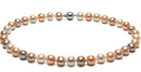 Wholesale 925s Silver - Classic south sea round 8-9mm white pink purple pearl necklace 18 inch 925s