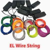 Wholesale El Glow Neon Light - AA Batteries Operated LED Neon Light Glow EL Wire Car String Lights Car Strip Light Tube Car Dance Party