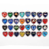 Wholesale Dangling Crystal Bracelet Charms - Hot selling 32 Mixs Heart White Crystal Glass Football Sports Team Pendant Hanging Dangle Charms for Necklace Bracelet