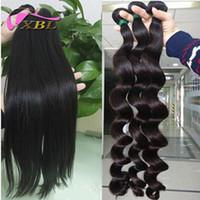 peruvian human hair ücretsiz gönderim bedeli toptan satış-Bakire Perulu İnsan Saç, Uzun Saç Inç Gevşek Dalga Ve Düz DHL Ücretsiz Kargo 3 Parça Bir Lot