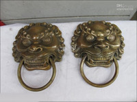 Atacado barato China Copper Esculpido Foo Dog Lion Head Palace Guardião Aldrava de porta estátua 2Pcs / 1pair