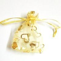 Wholesale Organza 7x9 - 200pcs Gold Organza Bag with Gold Heart Organza Gift Bag Wedding Favor Bags 7X9 cm ( 2.7x3.5inch ) Hot