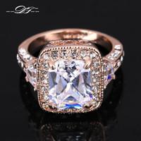 diamante suizo 18k al por mayor-Exagerado lujo suizo cristal de imitación anillos de dedo de boda al por mayor 18 K chapado en oro CZ Diamond Jewelry para hombres y mujeres DFR300