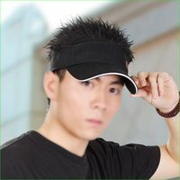 Wholesale Men Wig Toupee - Novelty Fake Flair Hair Sports Visor Cap Man Funny Toupee Wig Outdoor Beach Hats