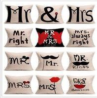 Wholesale Mr Mix - 1Pcs 45*45cm Women Men Mr Mrs Love Lip Pattern Cotton Linen Throw Pillow Cushion Cover Car Home Sofa Decorative Pillowcase 40246 mix match