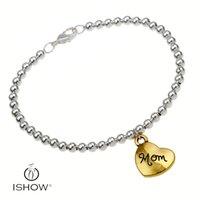 Wholesale Hand Jewerly - Fashion women hand chain 4mm sliver copper beads women bracelets bangs jewerly gold heart charm bracelets wholesale