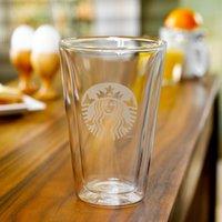 Wholesale Bodum Glasses - Classic Denmark Starbucks Bodum double clear glass cup coffee mug 425ml for Water Milk Tea with wood spoon lid