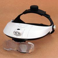 Wholesale Dental Loupe Lights - Wholesale-1.0X 1.5X 2.0X 2.5X 3.5X LED Illuminated Helmet Light Magnifier Adjustable Dental Magnifying Glass Loupe MG81001-H
