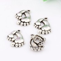 Wholesale Mother Child Charms - Hot ! 150pcs--Footprint Charms Antique Silver Cute Mother and Child foot pendants charms 16x20mm A-063