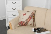"""Wholesale High Heel Sofa - Cotton Linen Throw Cushion Pillow Core Included Square Color Butterfly High Heel Decorative Back Cushions Cover for Sofa Home Decor 18""""X18"""""""