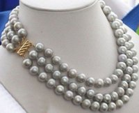 Wholesale beaded circle - Beautiful Southern Ocean natural gray pearl necklace 9-10 mm 16-18 inch