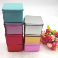 Wholesale Mini Caddy - 6.5*6.5*4.5cm High Quality Colorful Tea Caddy Tin Box Jewelry Storage Case Square Metal Mini Candy Box